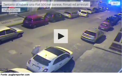 Tentano di rubare una Fiat 500 nel barese, filmati ed arrestati